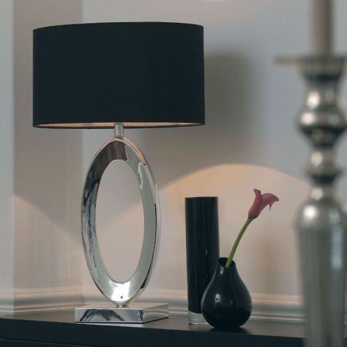 Silver plate & black silk fabric Tablelamp BXNERINO-17 by Endon (Class 2 Double Insulated)